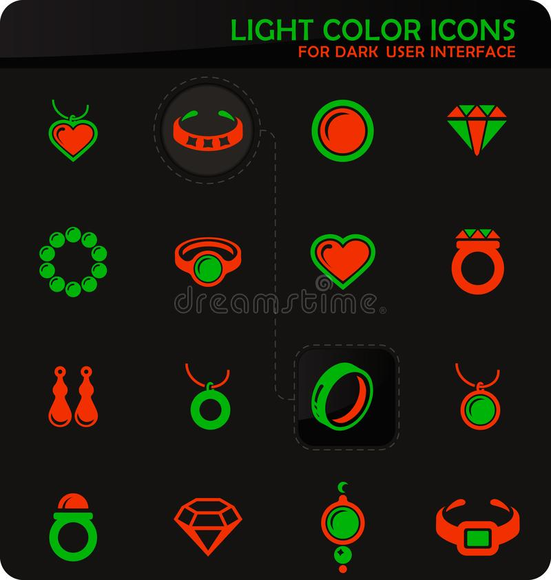 Icone dei gioielli messe illustrazione di stock