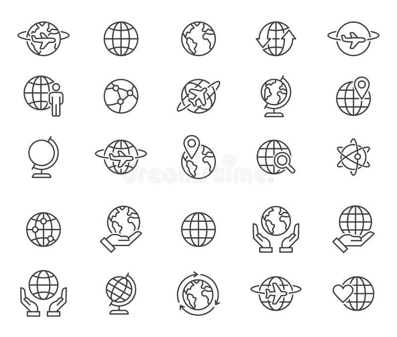 Icone dei globi del mondo del profilo messe illustrazione di stock