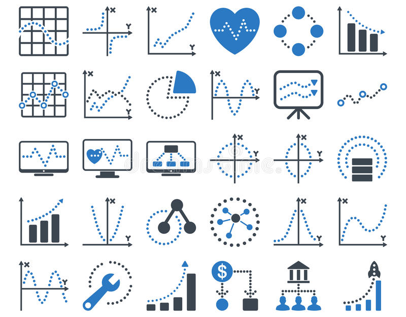 Icone dei grafici punteggiati royalty illustrazione gratis