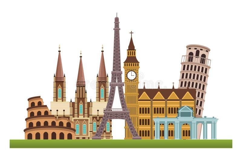 Icone dei monumenti del mondo illustrazione di stock