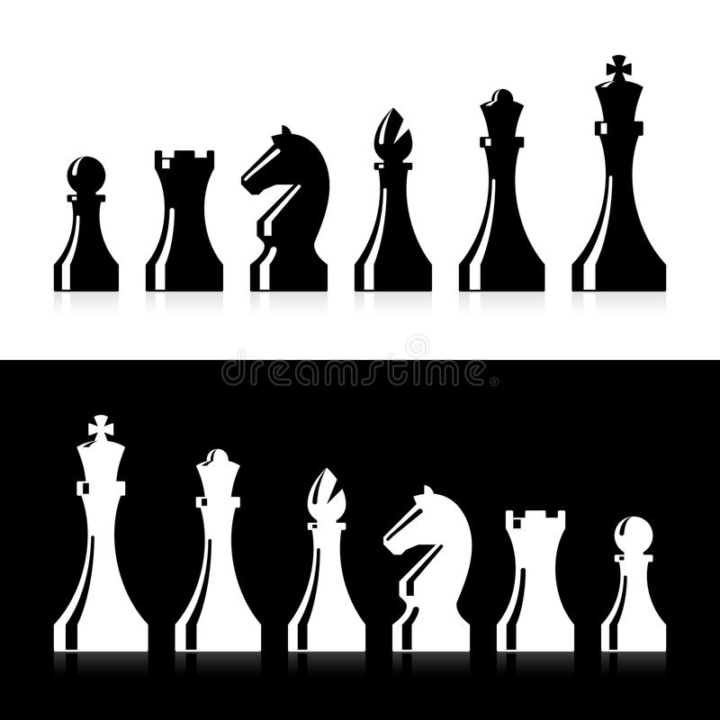 Icone dei pezzi degli scacchi illustrazione vettoriale