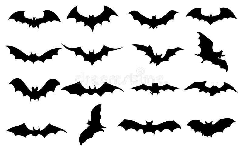 Icone dei pipistrelli messe illustrazione di stock