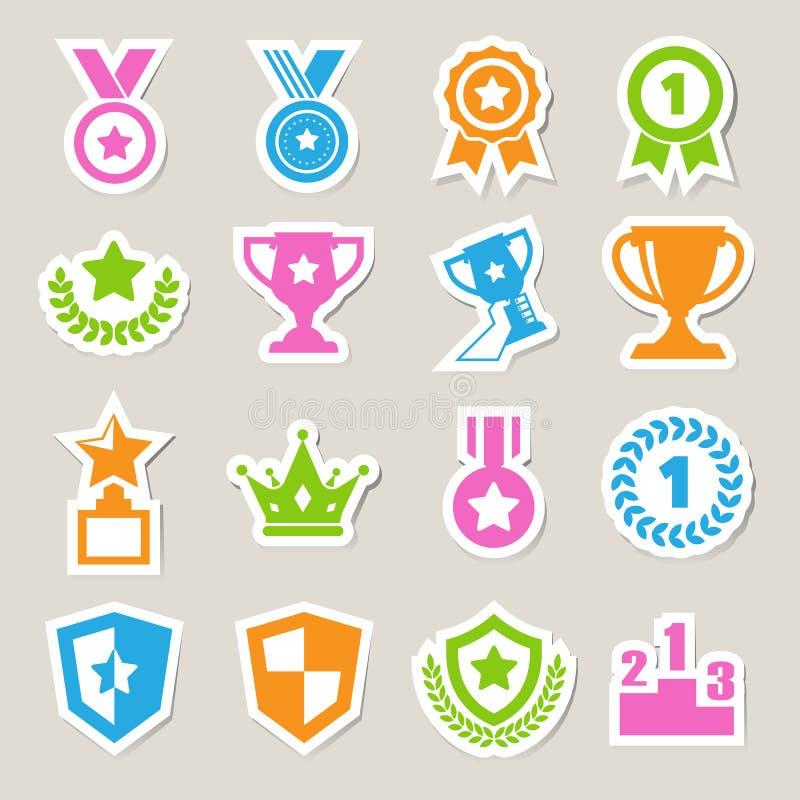 Icone dei premi e del trofeo messe illustrazione di stock
