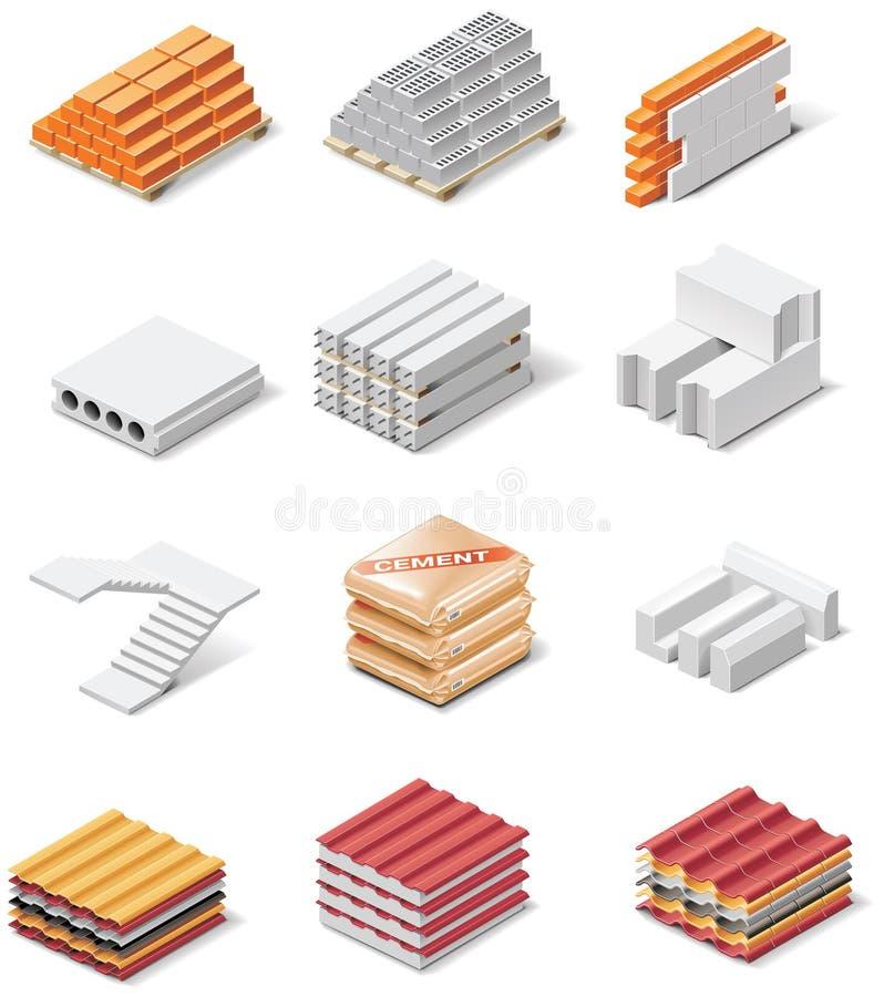 Icone dei prodotti della costruzione di vettore. Calcestruzzo della parte 1. illustrazione di stock