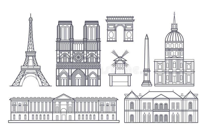 Icone dei punti di riferimento di vettore del paesaggio di Parigi del profilo, Francia illustrazione vettoriale