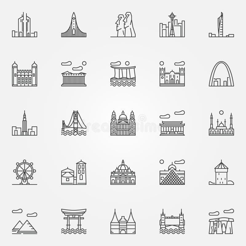Icone dei punti di riferimento di viaggio messe royalty illustrazione gratis