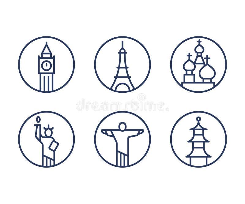 Icone dei punti di riferimento messe illustrazione di stock