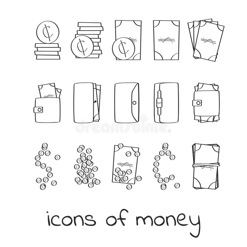 Icone dei soldi di tiraggio della mano Raccolta dei segni lineari dei dollari e dei centesimi illustrazione vettoriale