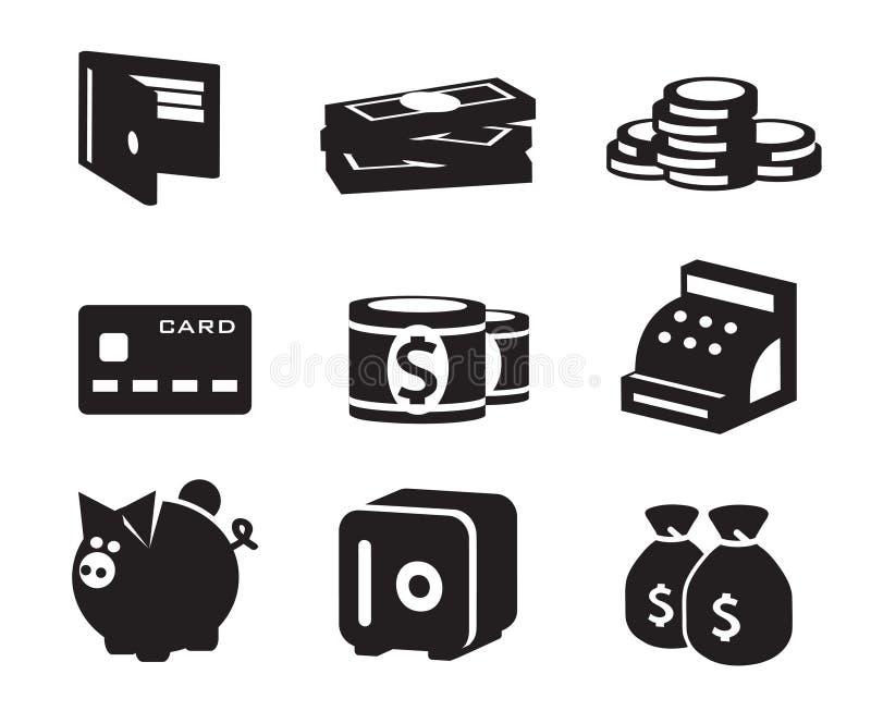Icone dei soldi messe illustrazione vettoriale