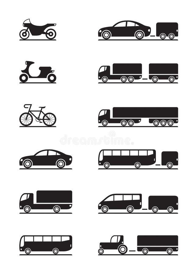 Icone dei veicoli stradali illustrazione di stock
