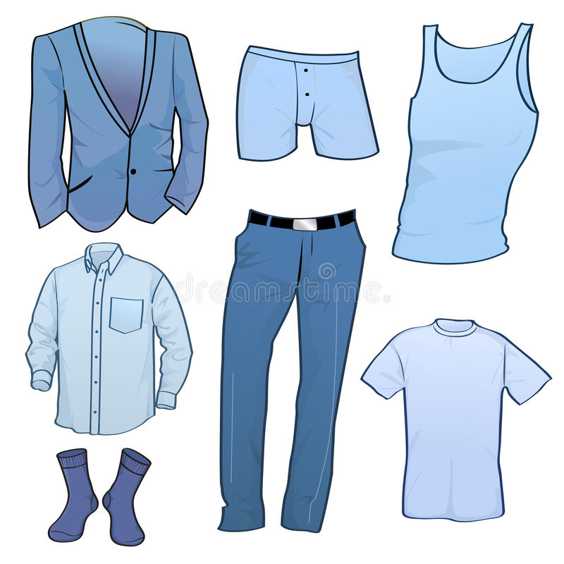 Icone dei vestiti degli uomini illustrazione vettoriale