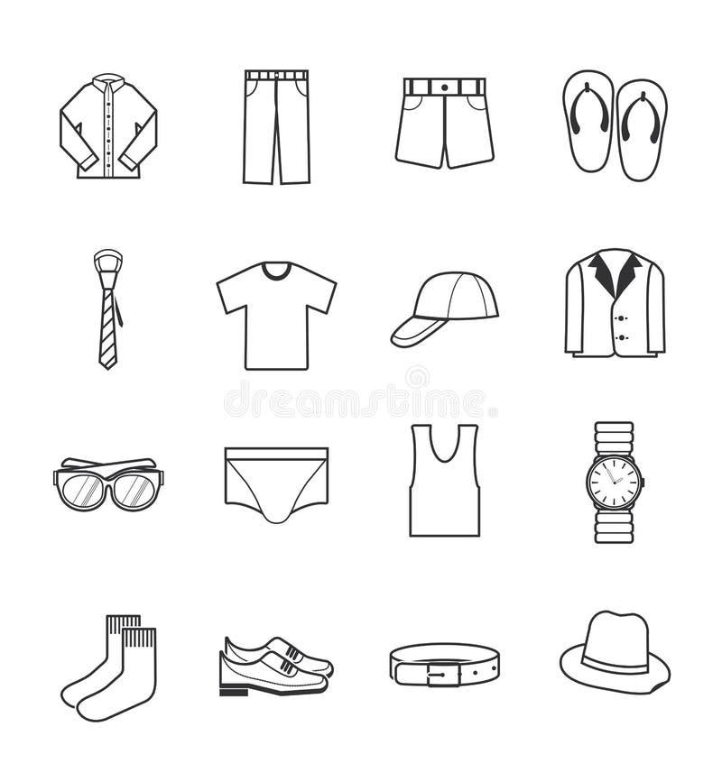 Icone dei vestiti del signore messe illustrazione di stock