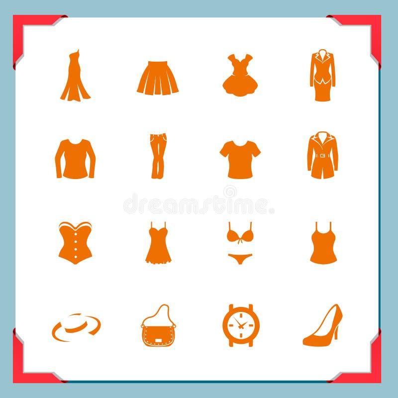 Icone dei vestiti. Donne | in serie del blocco per grafici illustrazione di stock