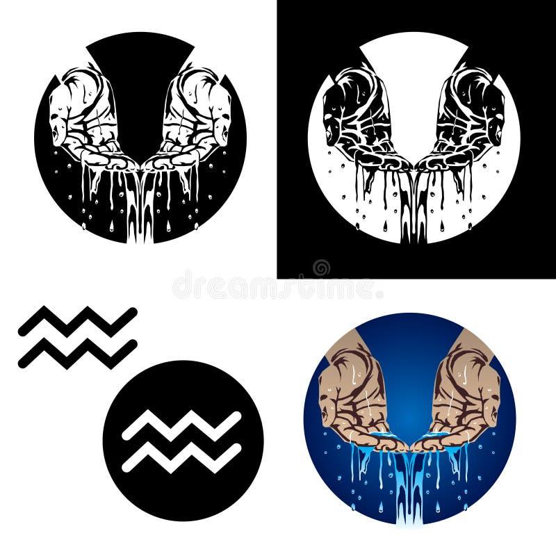 Icone del Aquarius dello zodiaco illustrazione vettoriale