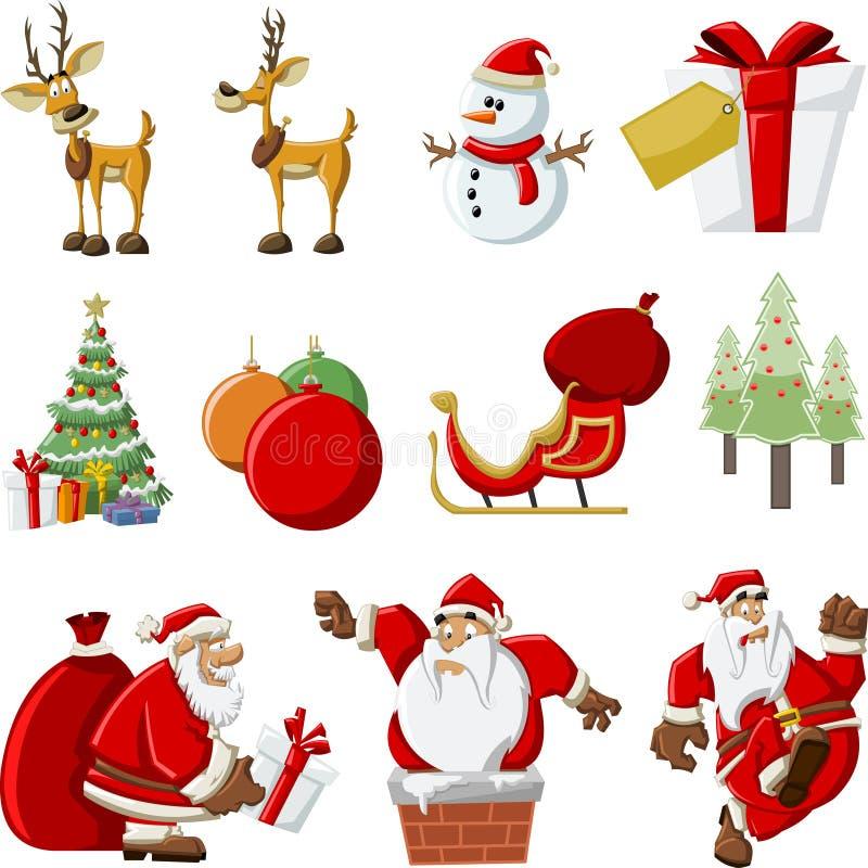 Icone del Babbo Natale su tempo di natale illustrazione di stock