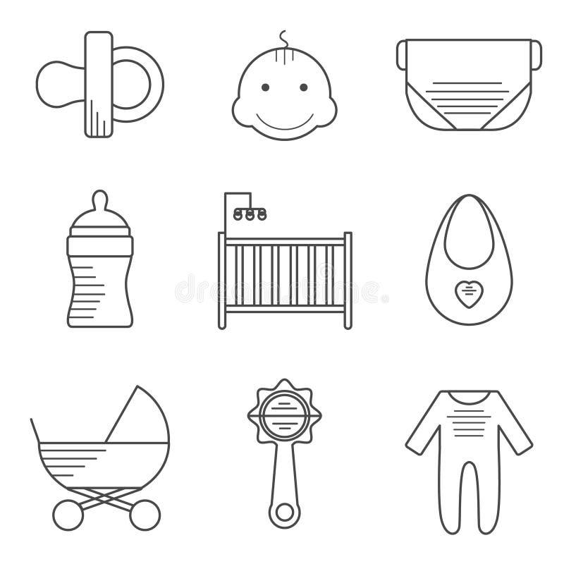 Icone del bambino nella linea stile sottile illustrazione vettoriale