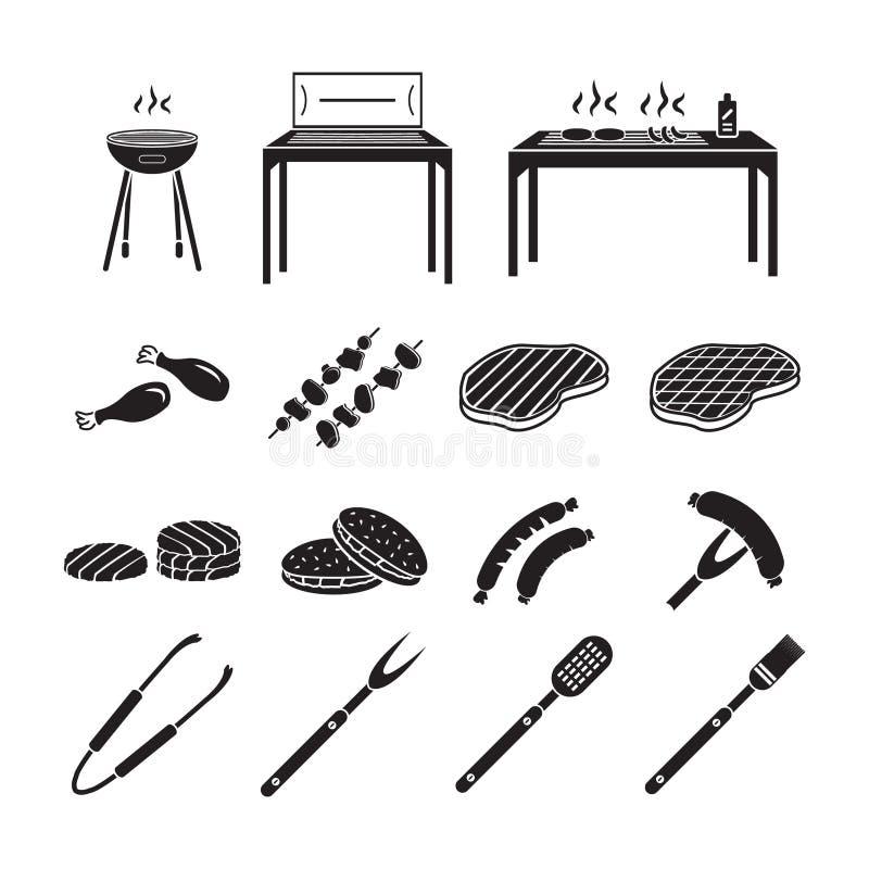 Icone del barbecue messe illustrazione vettoriale