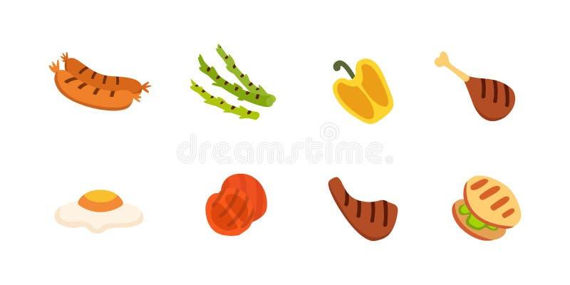 Icone del barbecue messe Grigli l'alimento, il bbq, l'arrosto, illustrazione di vettore del fumetto della bistecca illustrazione vettoriale