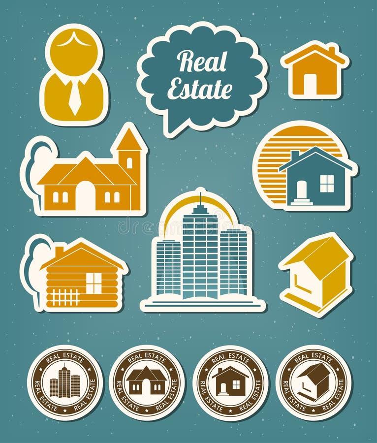 Icone del bene immobile illustrazione di stock