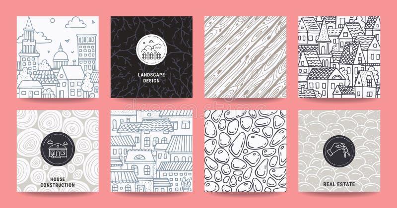 Icone del bene immobile, illustrazioni urbane disegnate a mano, modelli astratti Manifesto, modelli di progettazione dell'aletta  illustrazione vettoriale