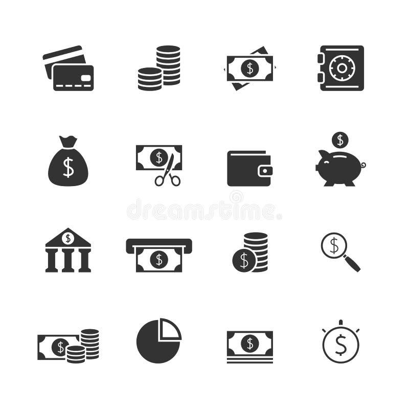 Icone del blak di finanza messe illustrazione di stock