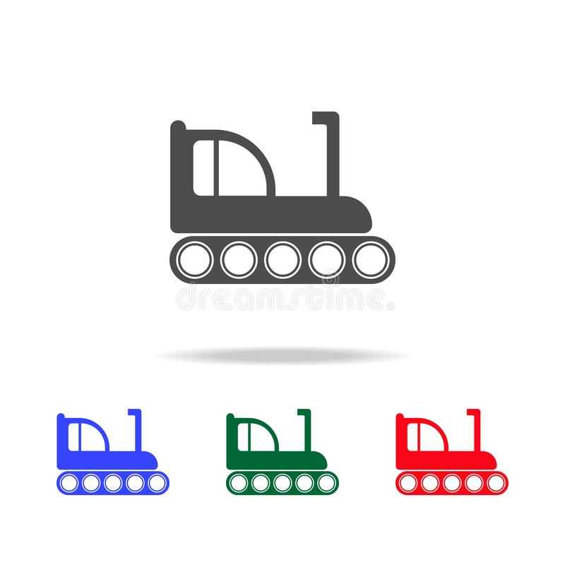 Icone del bulldozer del cingolo Elementi dell'elemento di trasporto nelle multi icone colorate Icona premio di progettazione graf royalty illustrazione gratis