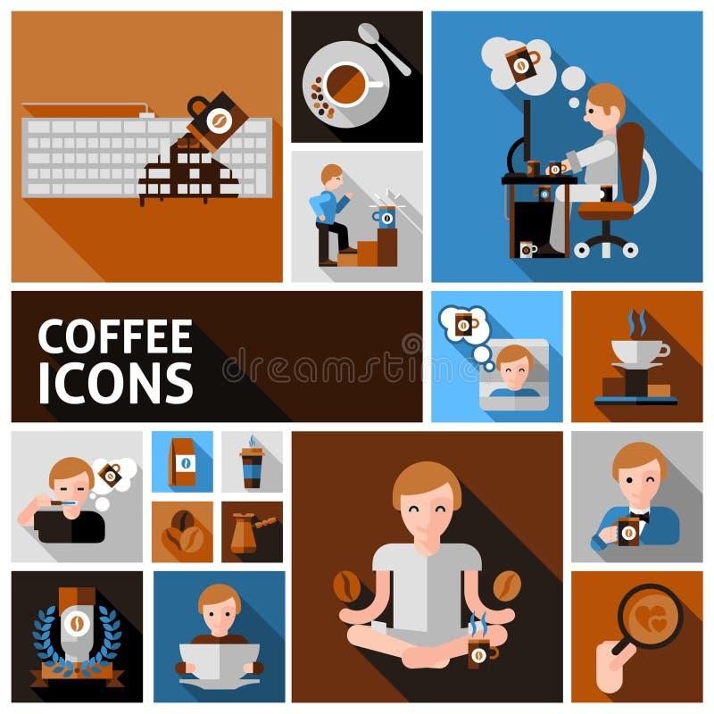 Icone del caffè impostate illustrazione vettoriale
