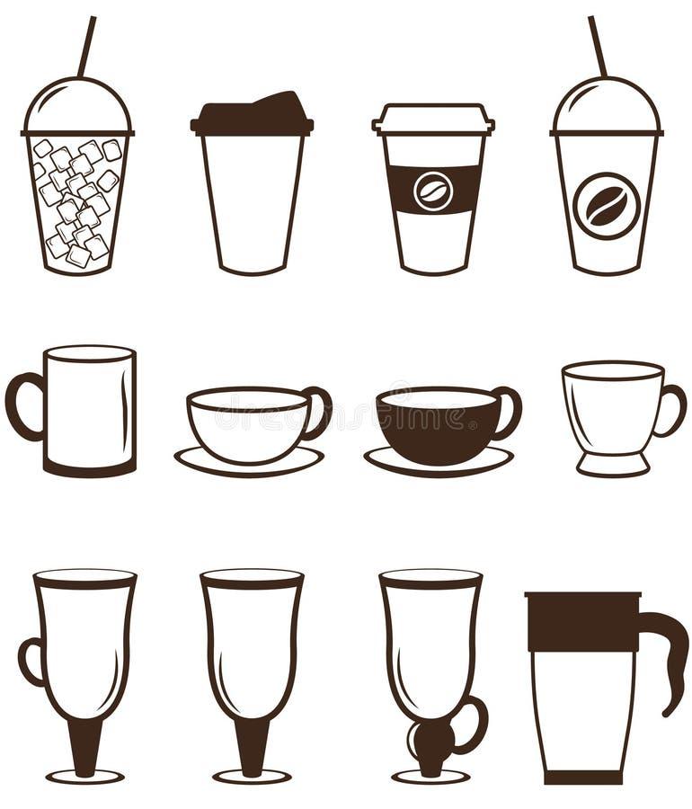 Icone del caffè impostate Bottoni per il web e i apps Vettore illustrazione vettoriale