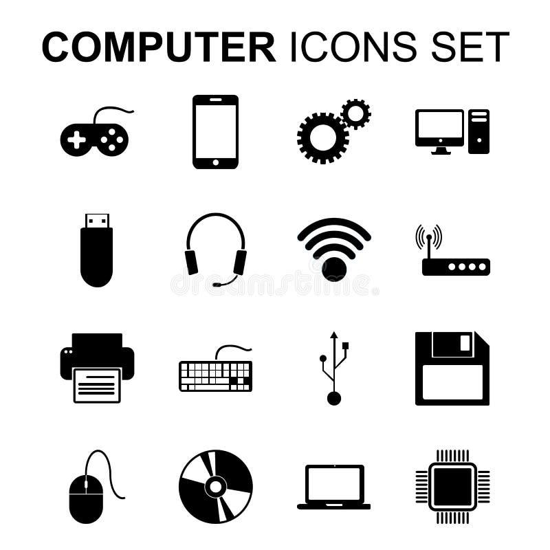 Icone del calcolatore impostate Simboli della siluetta di tecnologia Vettore illustrazione di stock