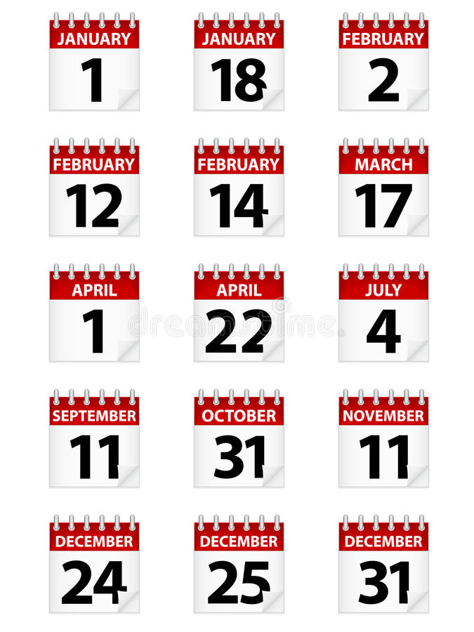 Icone del calendario illustrazione vettoriale