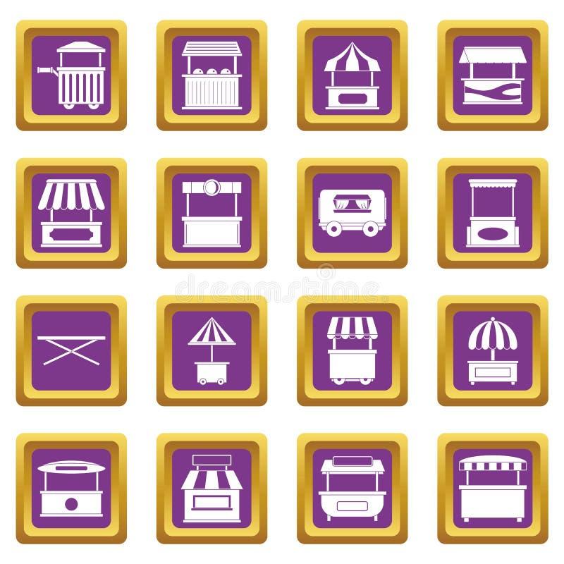 Icone del camion dell'alimento della via messe porpora illustrazione di stock