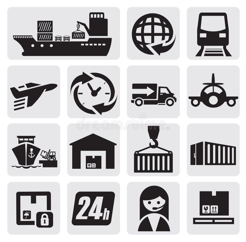 Icone del carico e di trasporto royalty illustrazione gratis