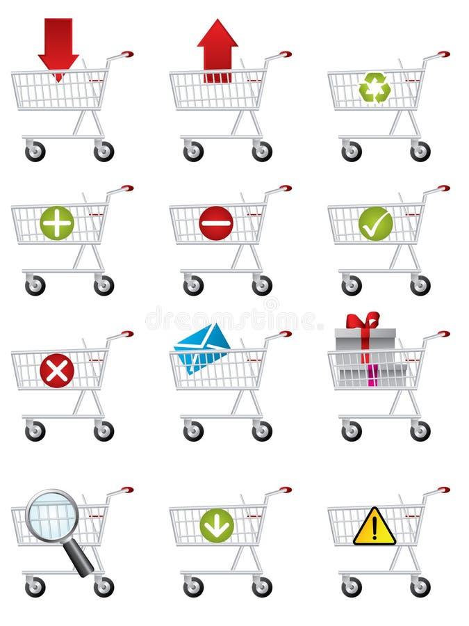 Icone del carrello di acquisto illustrazione vettoriale