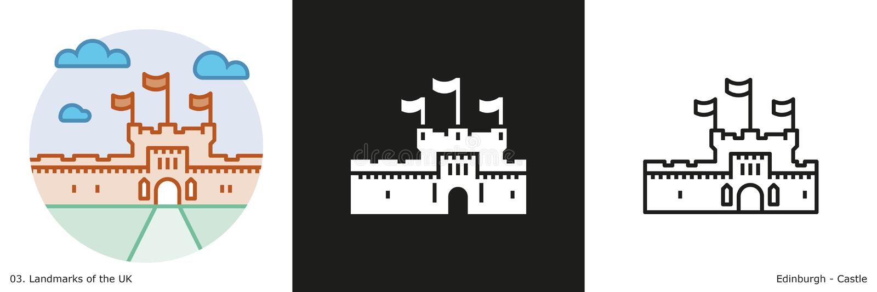 Icone del castello di Edimburgo illustrazione di stock