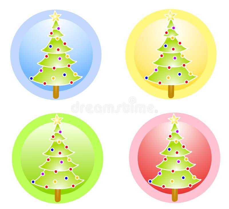 Icone del cerchio degli alberi di Natale royalty illustrazione gratis