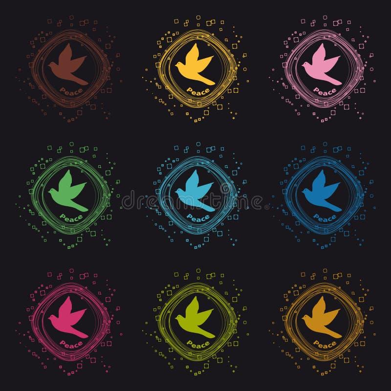 Icone del cerchio di pace della colomba - bottoni variopinti di vettore - isolate su fondo nero royalty illustrazione gratis