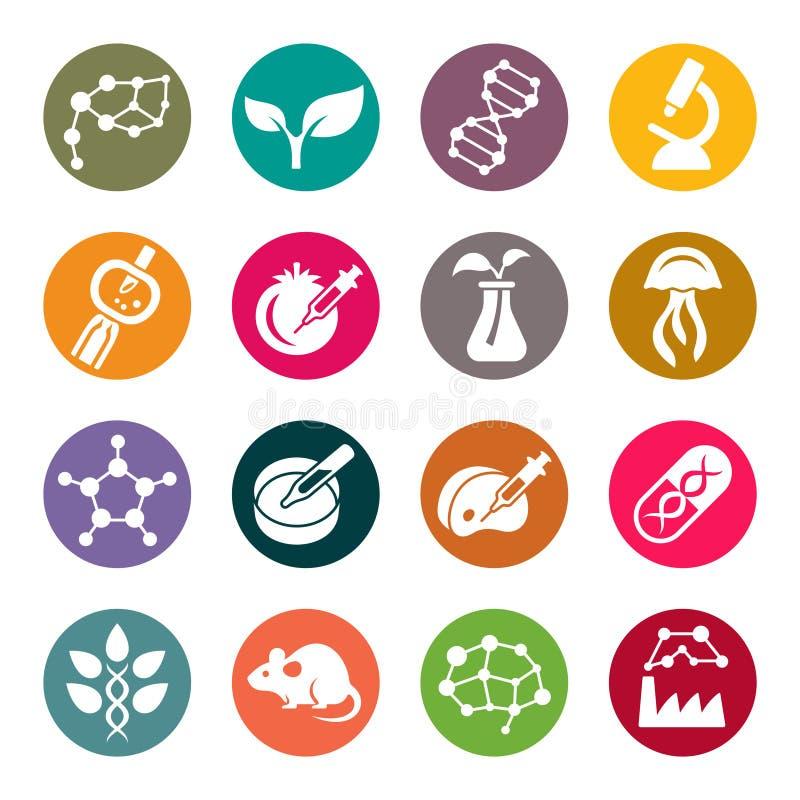 Icone del cerchio di tema di scienza di biotecnologia royalty illustrazione gratis