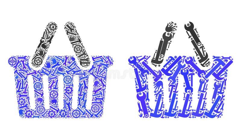 Icone del cestino della spesa del mosaico degli strumenti di riparazione royalty illustrazione gratis