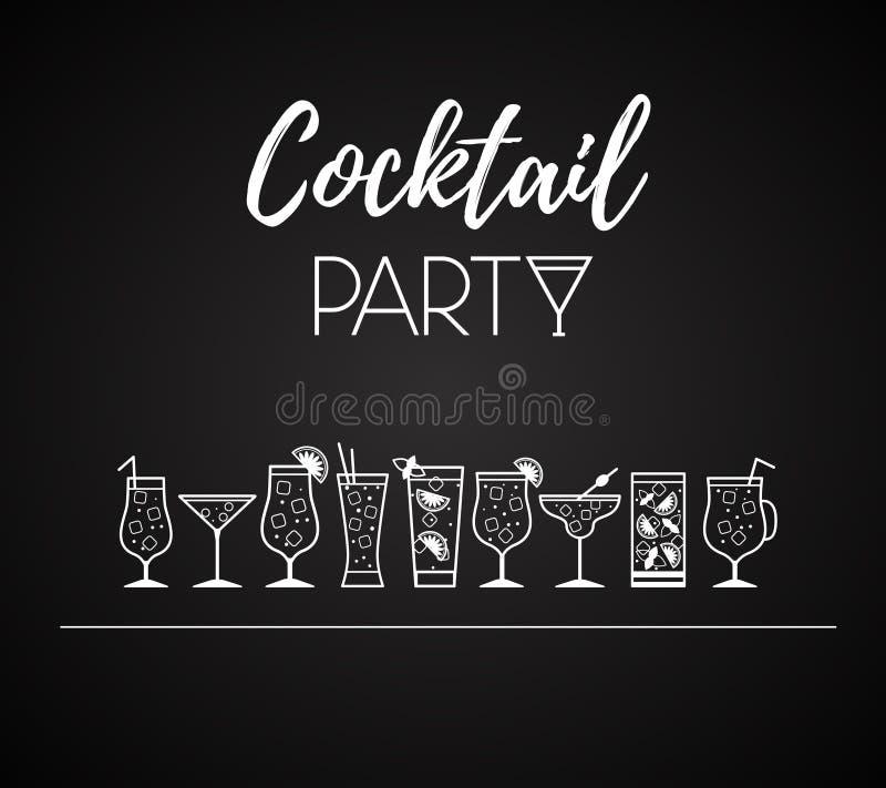 Icone del cocktail Generi differenti di vetri illustrazione vettoriale