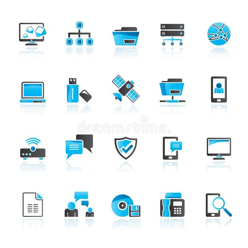 Icone del collegamento, di comunicazione e della rete illustrazione vettoriale