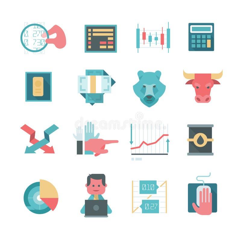 Icone del commercio di azione online illustrazione vettoriale