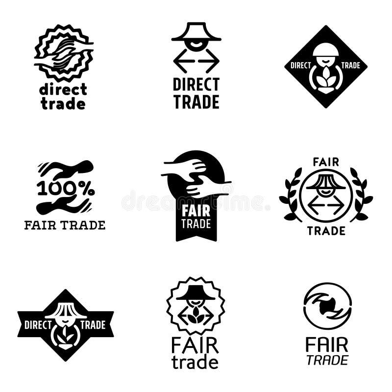 Icone del commercio equo e solidale messe e segni fotografie stock libere da diritti