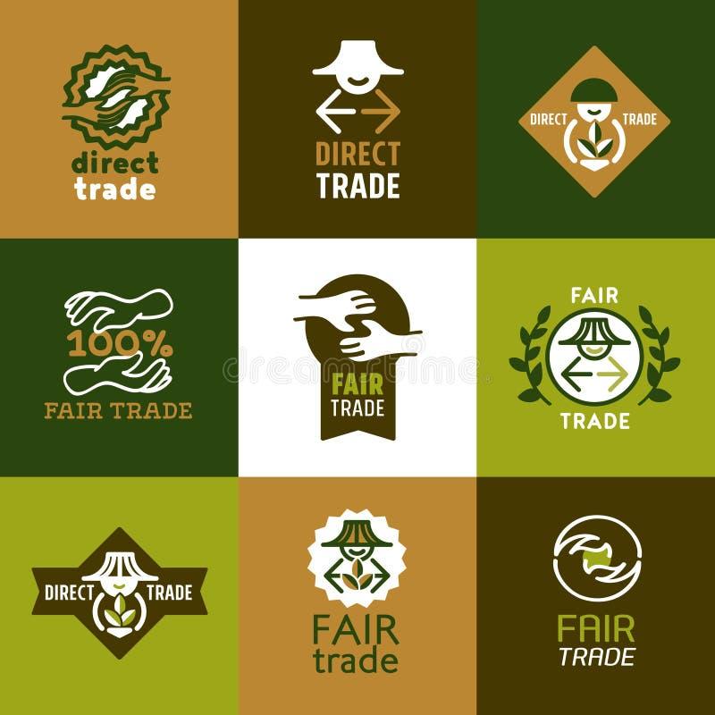 Icone del commercio equo e solidale messe e segni fotografia stock