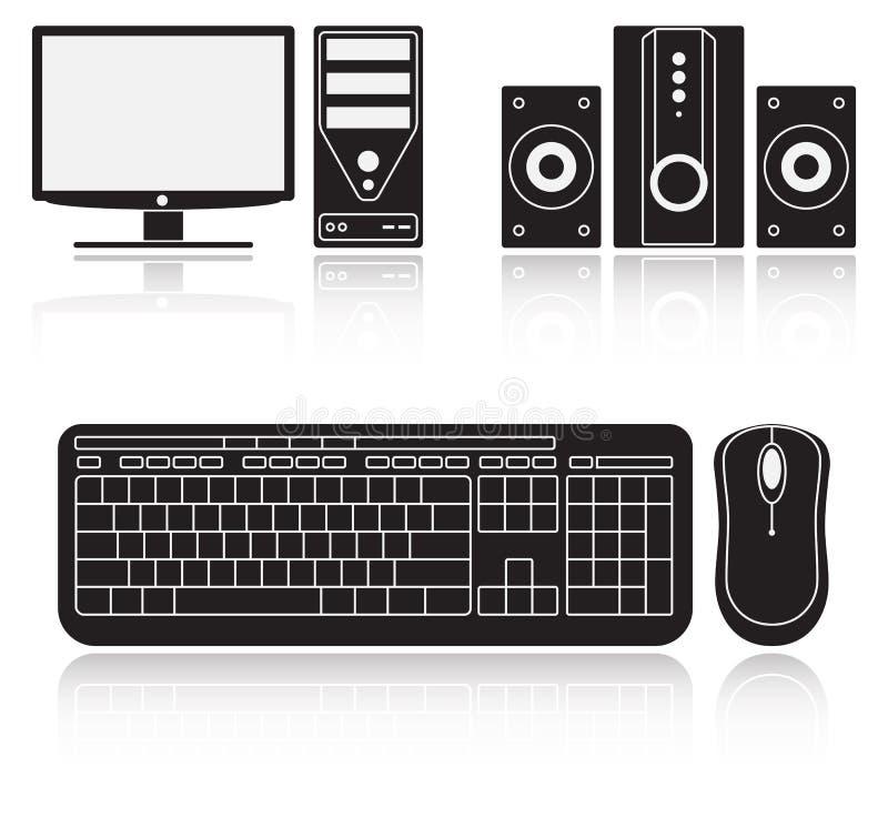 Icone del computer, di audio sistema, della tastiera e del topo royalty illustrazione gratis