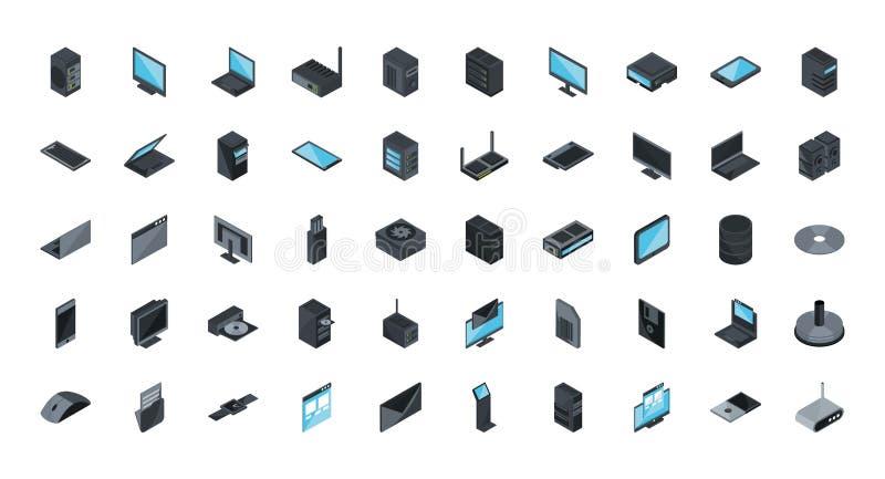 Icone del computer del dispositivo hardware per la tecnologia set isometrico royalty illustrazione gratis