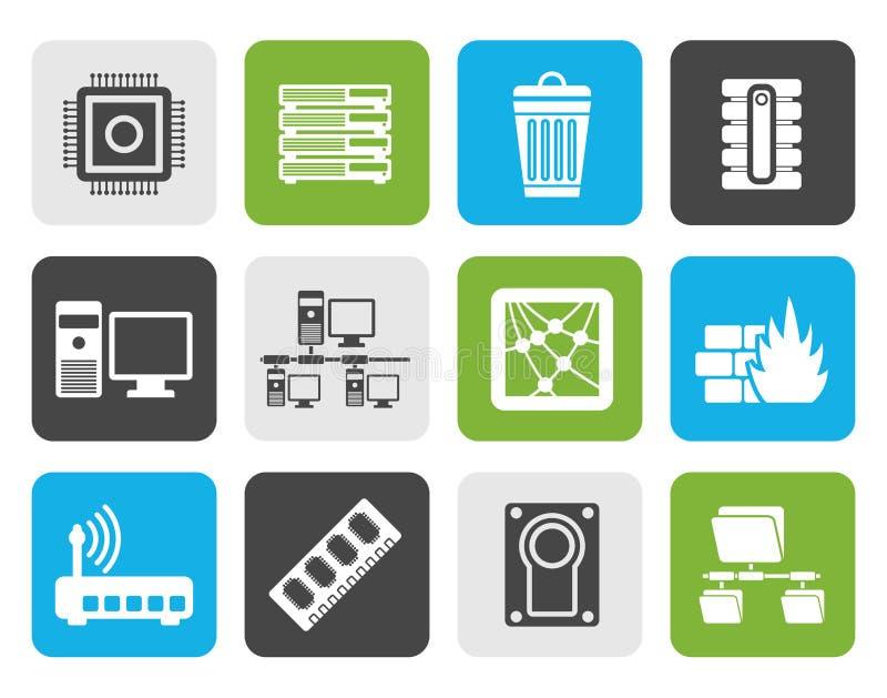 Icone del computer e del sito Web della siluetta illustrazione vettoriale