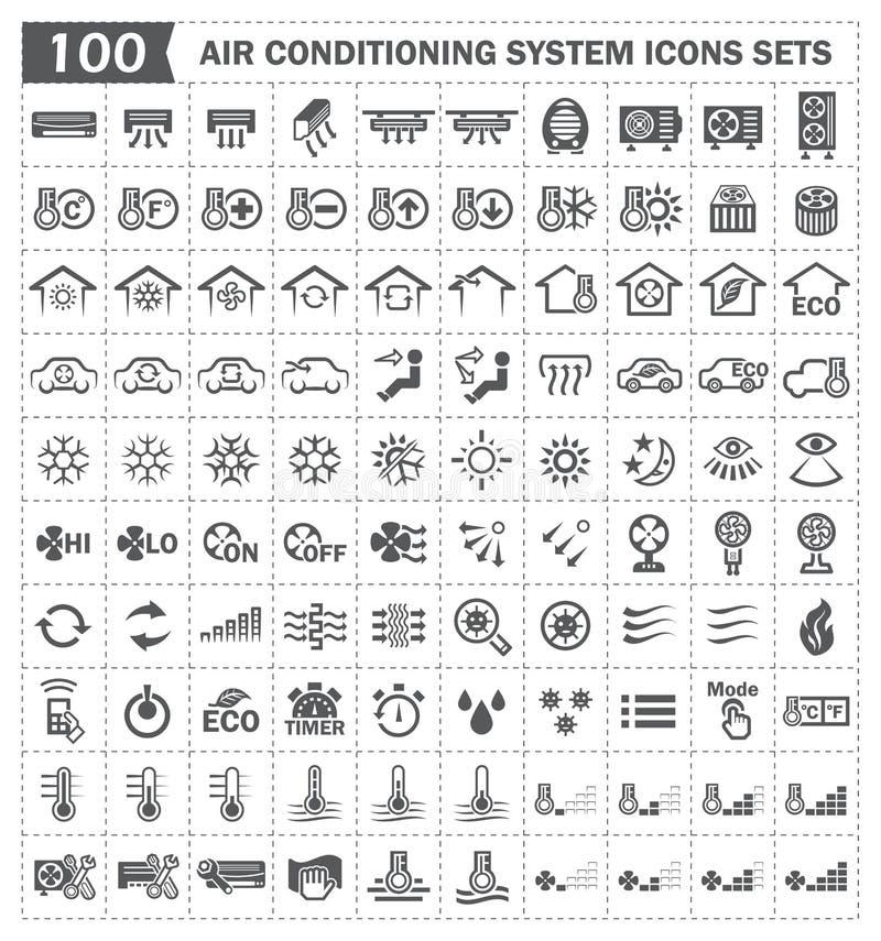 100 icone del condizionamento d'aria illustrazione di stock