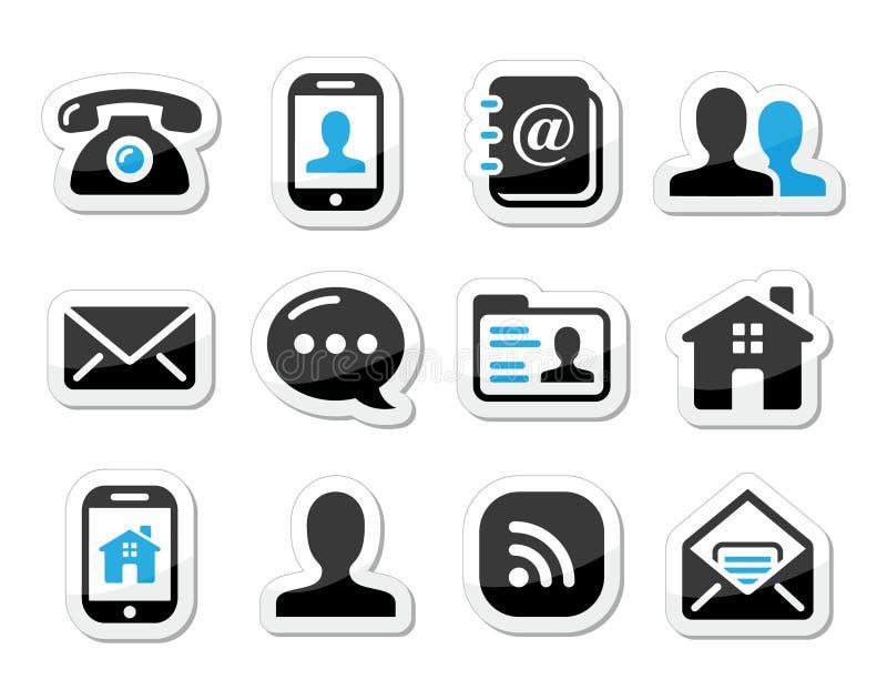 Icone del contatto impostate come contrassegni - cellulare, utente, email royalty illustrazione gratis