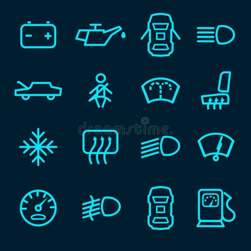Icone del cruscotto dell'automobile illustrazione di stock