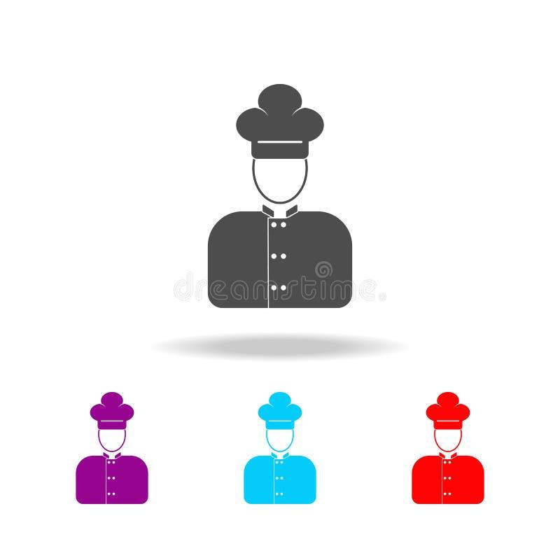 icone del cuoco dell'avatar Elementi degli avatar nelle multi icone colorate Icona premio di progettazione grafica di qualità Ico illustrazione vettoriale